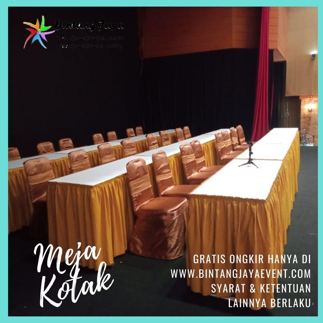 Sewa Meja Kotak Seminar Jakarta Taplak mewah berkelas harga terjangkau pelayanan 24 jam