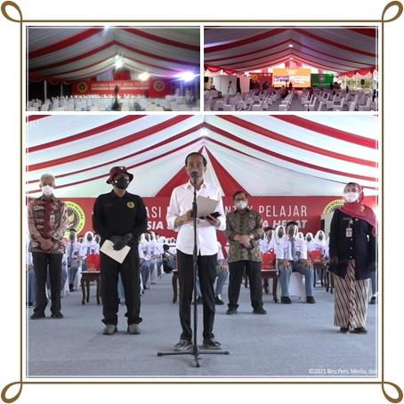 Rental Tenda Kursi-Vaksin Pelajar Cilacap Bersama Jokowi